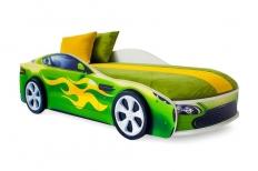 Бондмобиль кровать машина зеленая + матрас