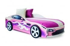 Бондмобиль кровать машинка розовая + матрас